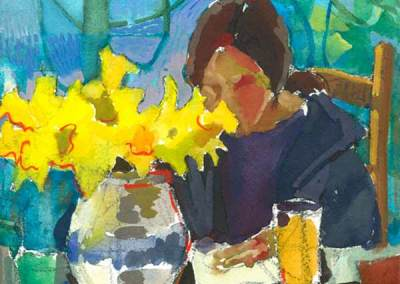 Jo with Daffodils